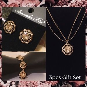 3x Champagne Gold Crystal Floral Jewelry Gift Set